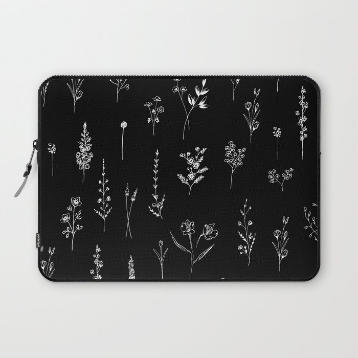 Black wildflowers Laptop Sleeve