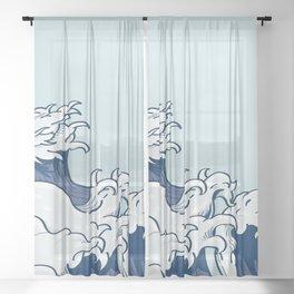 The Great Kanagawa Japanese Wave Sheer Curtain