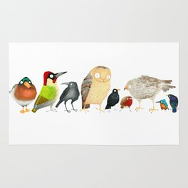 Woodland Bird Collection in white Rug