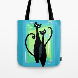Sassy Sparkling Atomic Age Black Kitschy Cats Tote Bag