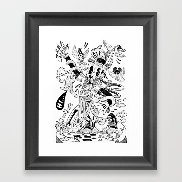 Awesome rabbit is awesome (b/w version) Framed Art Print