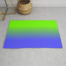 Neon Blue and Neon Green Ombré  Shade Color Fade Rug
