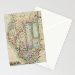 Vintage Map of Illinois (1823) Stationery Cards