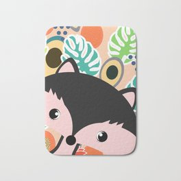 Fox, leaves and tropical fruits Bath Mat