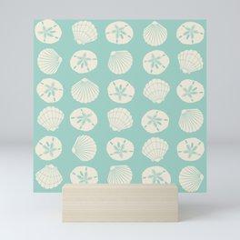 Sea Shells Light Green Mini Art Print