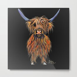 Scottish Highland Cow ' NED ' by Shirley MacArthur Metal Print