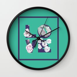 Floral Uv LOVE #society6 #love #ultraviolet Wall Clock