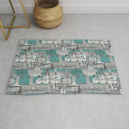 London toile blue Rug