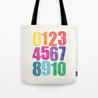 numbers Tote Bags featuring Numbers by Laura Flowerday (PaperCrane)