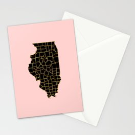 Illinois map Stationery Cards
