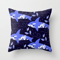 killer whale Throw Pillows featuring Killer whale pattern by luizavictoryaPatterns