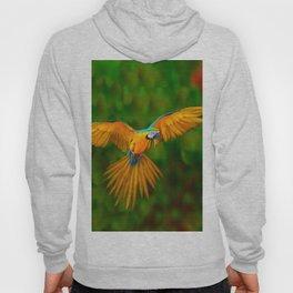 Flying Golden Blue Macaw Parrot Green  Art Hoody