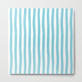 Ocean Blue and White Palm Beach Preppy Cabana Stripes Metal Print