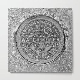 New Orleans Water Meter Louisiana Crescent City NOLA Water Board Metalwork Grey Silver Metal Print
