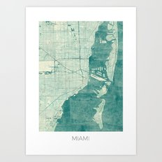 Miami Map Blue Vintage Art Print