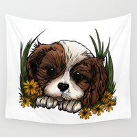 puppy Wall Tapestries featuring Puppy by Adamzworld