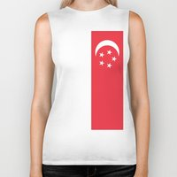 singapore Biker Tanks featuring Flag of Singapore by Neville Hawkins