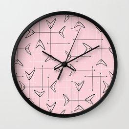 Boomerang Mobiles on Pink Wall Clock