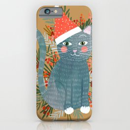 Blue Cat cute christmas xmas tree holiday funny cat art cat lady gift unique pet gifts iPhone Case