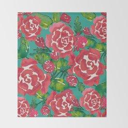 Watercolor Roses Throw Blanket