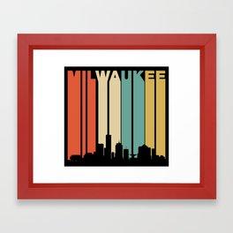Retro 1970's Milwaukee Wisconsin Downtown Skyline Framed Art Print