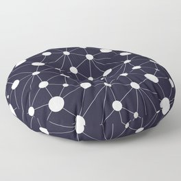 Abstract Network on Navy Floor Pillow