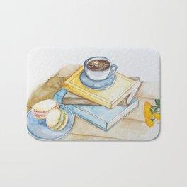 Coffee macaroons and books  Bath Mat