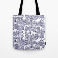Doctor Who Toile de Jouy | 'Walking Doodle' | Blue Tote Bag