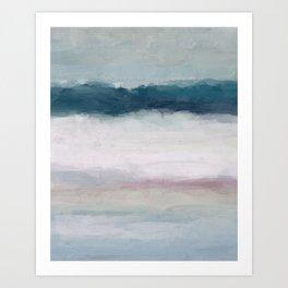 Dark Teal Blue, White, Pink, Light Blue Modern Wall Art, Ocean Waves Diptych Nursery Beach Decor Art Print