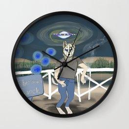 Skinwalker ranch dog man smoking a cigarette Wall Clock
