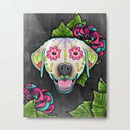 Labrador Retriever - Yellow Lab - Day of the Dead Sugar Skull Dog Metal Print