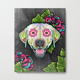 Labrador Retriever - Yellow Lab - Day of the Dead Sugar Skull Dog Metal Print