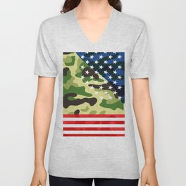 Patriotic camouflage pattern Unisex V-Neck
