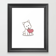 Westie Dog with Love Illustration Framed Art Print