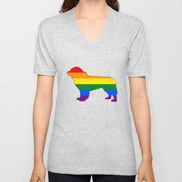 Rainbow Newfoundland Dog Unisex V-Neck