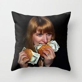 Eating Money Throw Pillow