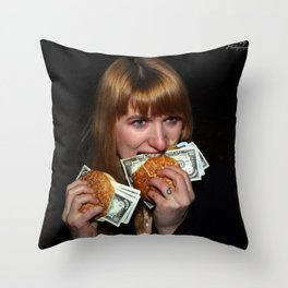 Eating Money Throw Pillow