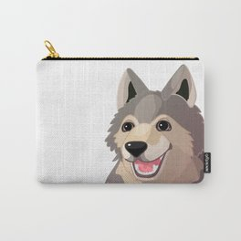 Happy gray wolf. Vector graphic character Carry-All Pouch