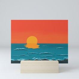 Sunset with waves Mini Art Print