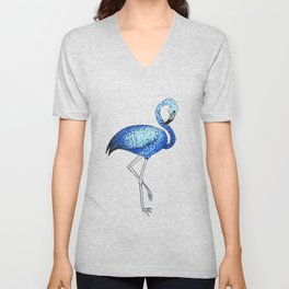 'Flaming-blue' Blue Pointillism Flamingo Illustration Unisex V-Neck