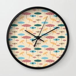 Retro beach parasol Wall Clock