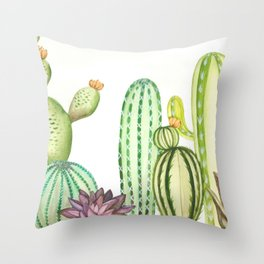 Watercolor Cacti Throw Pillow