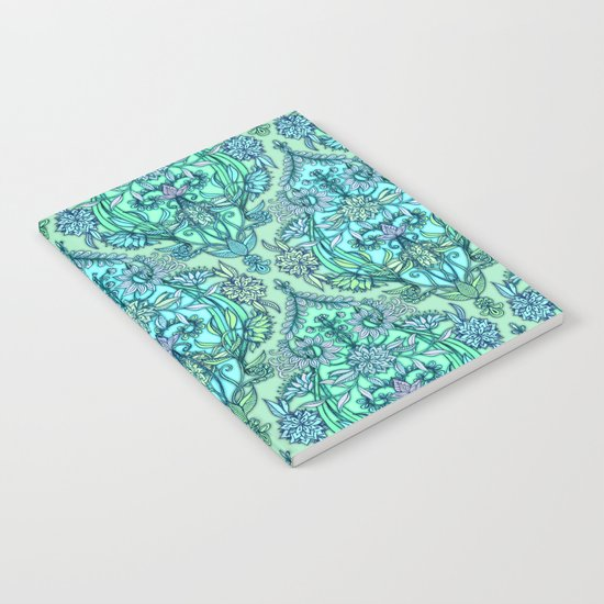Botanical Moroccan Doodle Pattern in Mint Green, Lilac & Aqua Notebook