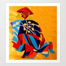 japanese men in traditional clothes Art Print