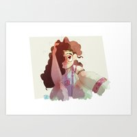 hippy Art Prints featuring Hippy girl by Francesco Malin