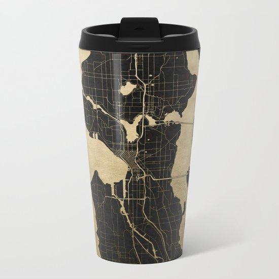 Seattle Black and Gold Map Metal Travel Mug