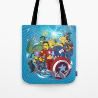 superheroes Tote Bags featuring Superheroes by Adrien ADN Noterdaem