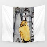 lighthouse Wall Tapestries featuring lighthouse by The Traveling Catburys