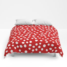 Red and white doodle dots Comforters
