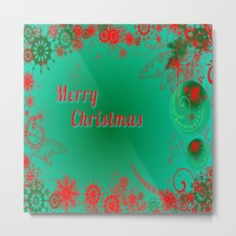 Merry Christmas in Green and Red Metal Print